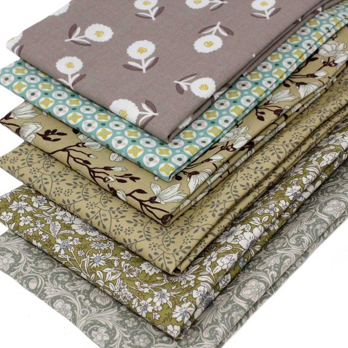 Fat quarters in natural beige and green colours.