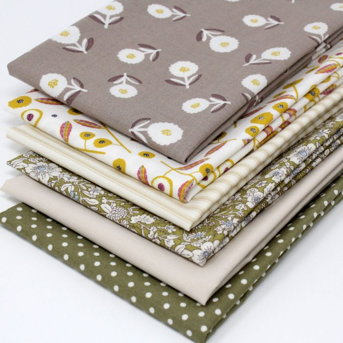Prints in natural shades with floral, stripe and polka dot designs.