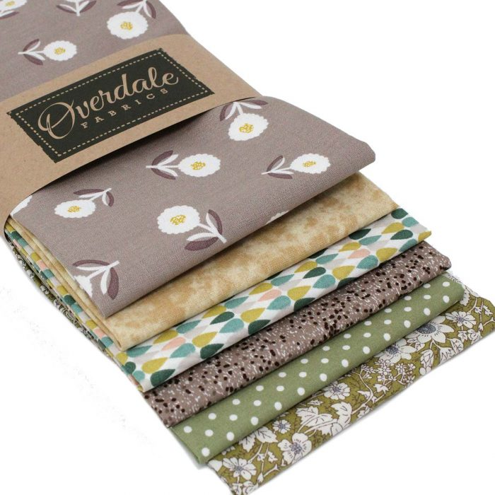 Natural shades fat quarter pack by Overdale Fabrics.