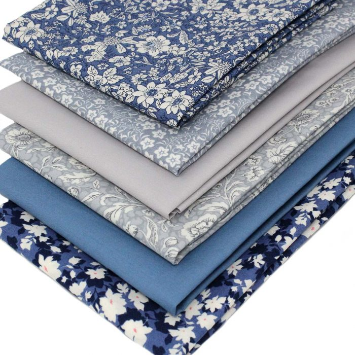 Blue and grey fat quarter pack .