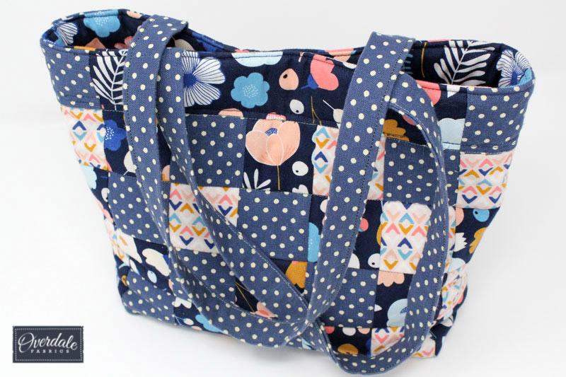 A handmade patchwork handbag.