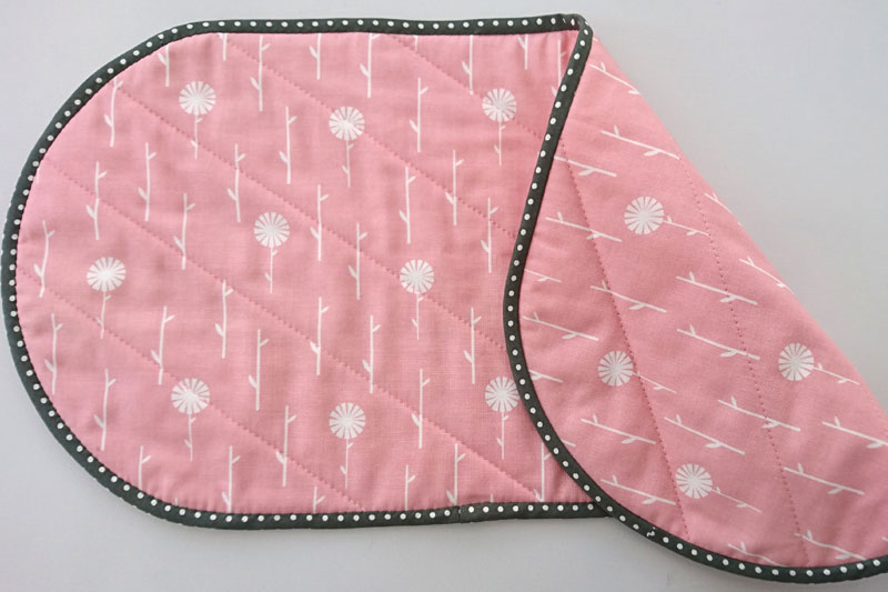 Pink and grey sewing caddy mat.