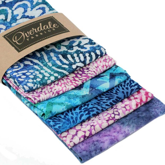 Blue and pink batik fat quarter pack by Overdale fabrics.