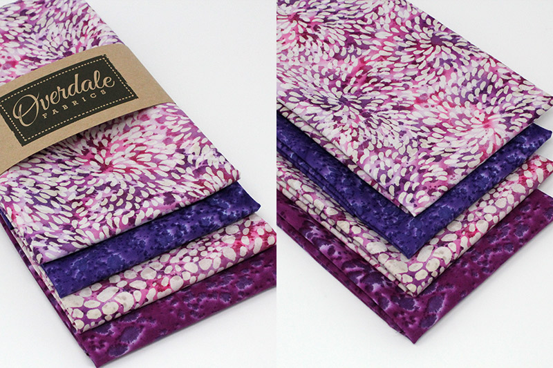 Batiks in shades of pinks and purples.