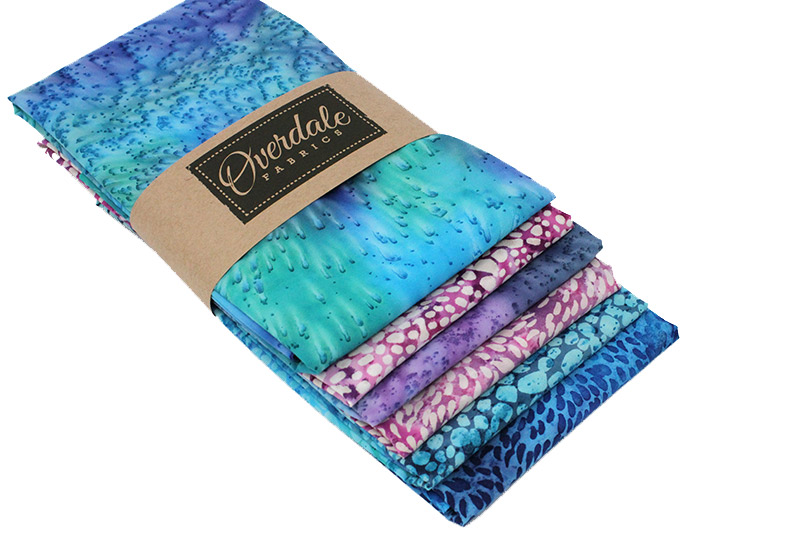 Batik bundle in shades of blue, pink and purple.