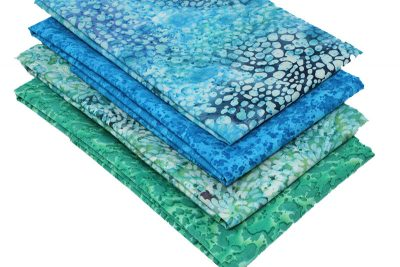 batiks with a sea colour theme in blue and green colours.