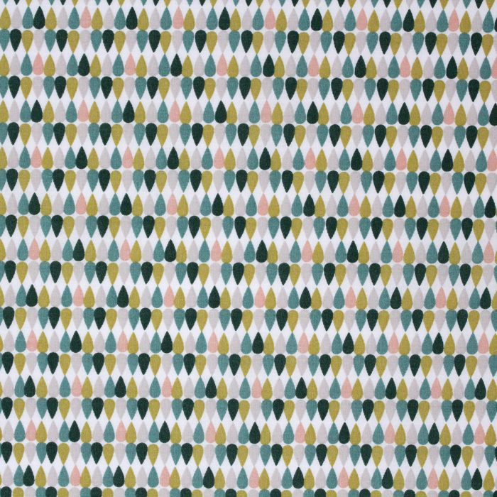 Fabric print with dew drops in shades of green and beige.