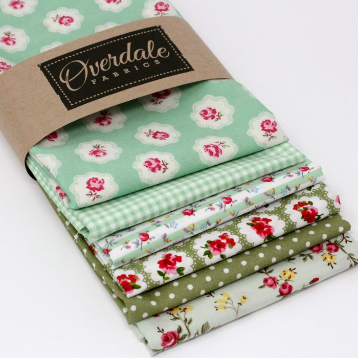 Stash pack of green fabric prints by Overdale Fabrics.