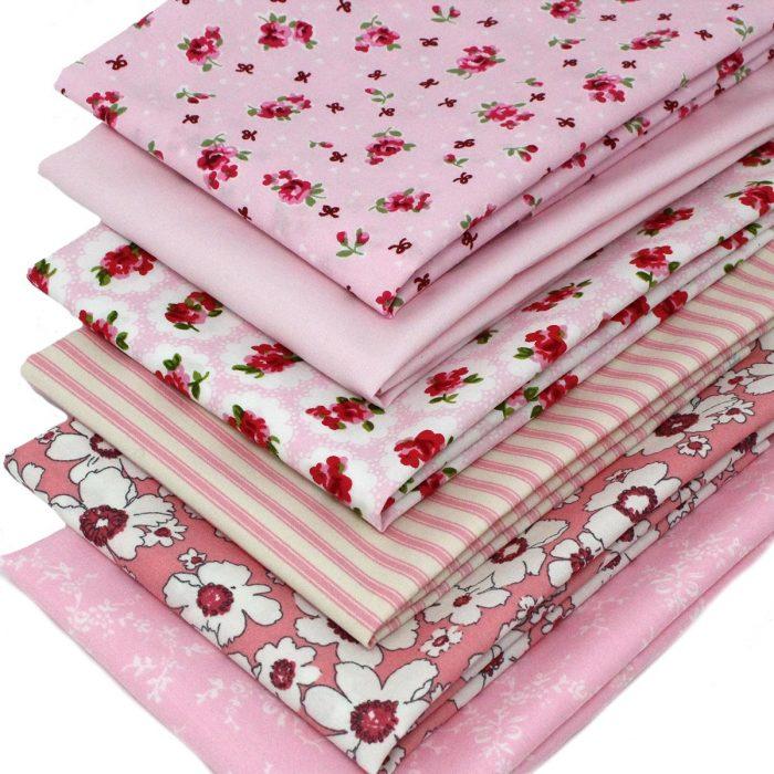 Pink fat quarter fabrics.