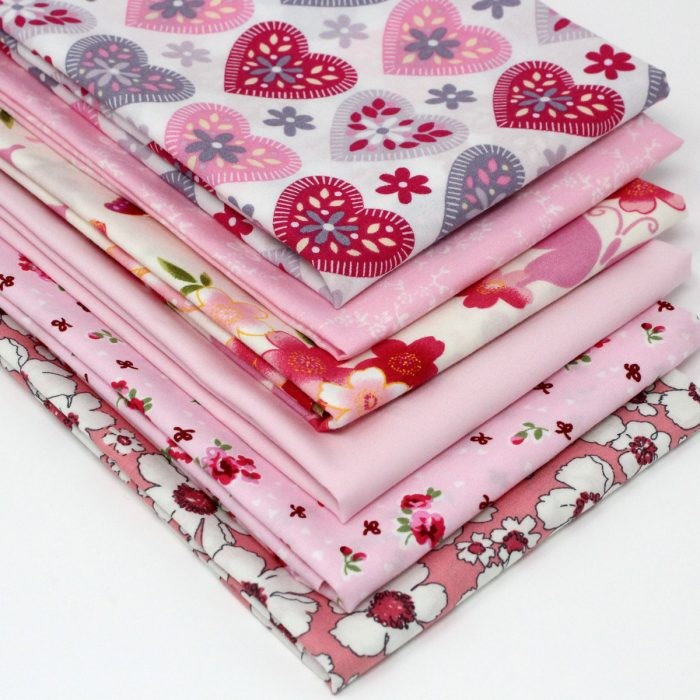 A set of six printed fabrics.