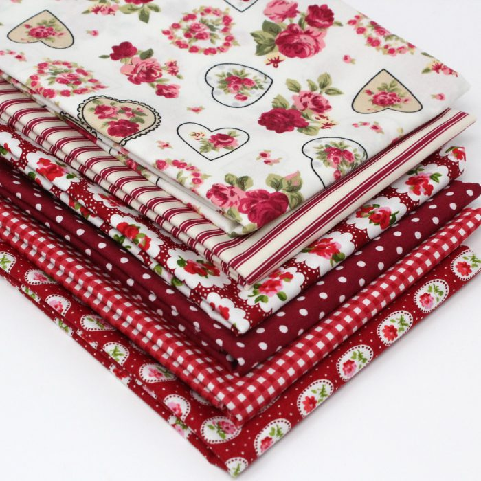 Red stash builder, a collection of six red print fat quarters.