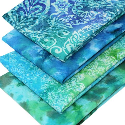Batiks in greens and blues.