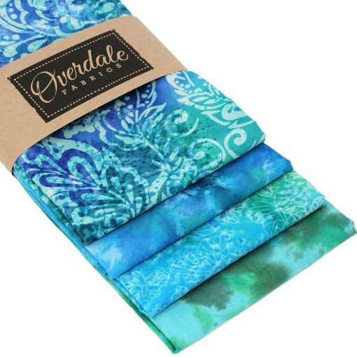 Fat quarter batiks in greens and blues.