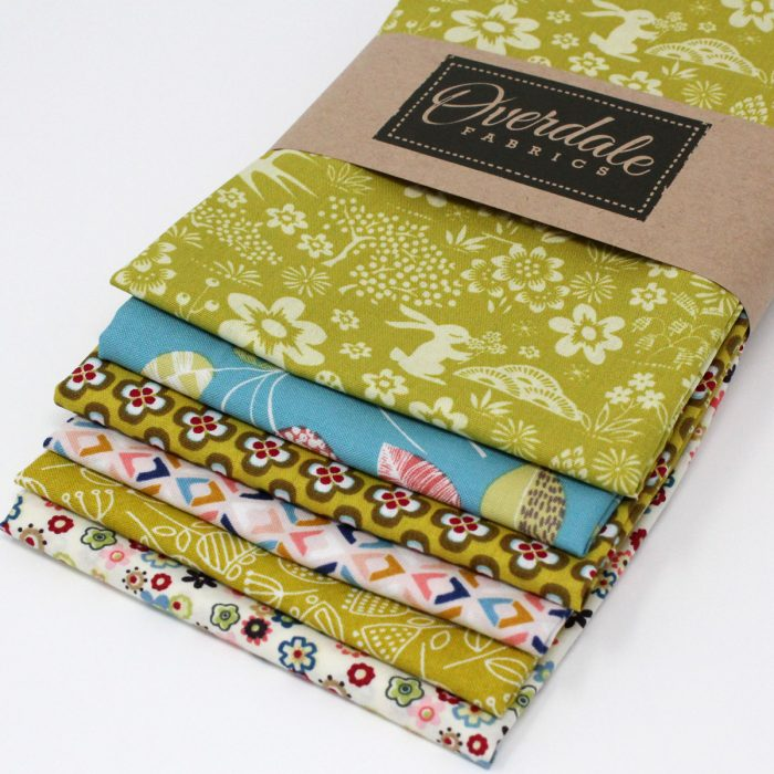 Six fat quarter pack of prints with a woodland theme in shades of green and teal.