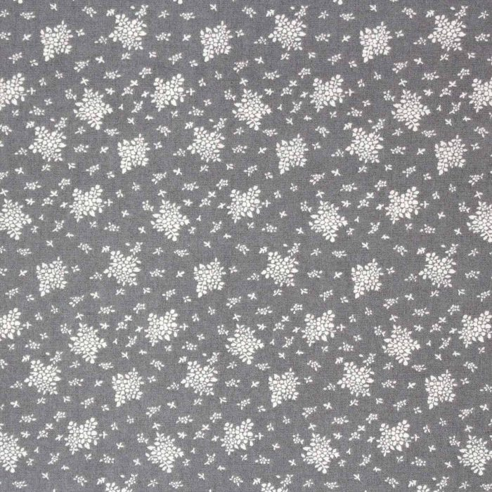 Grey floral fabric.