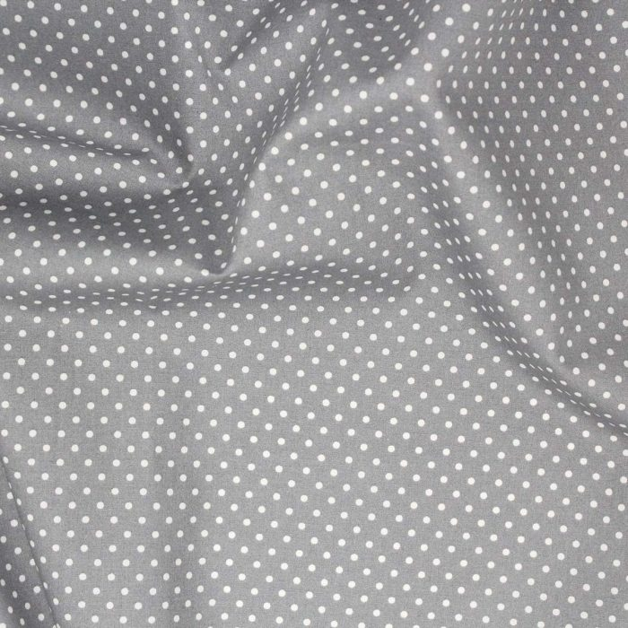Grey fabric with a white polka dot.