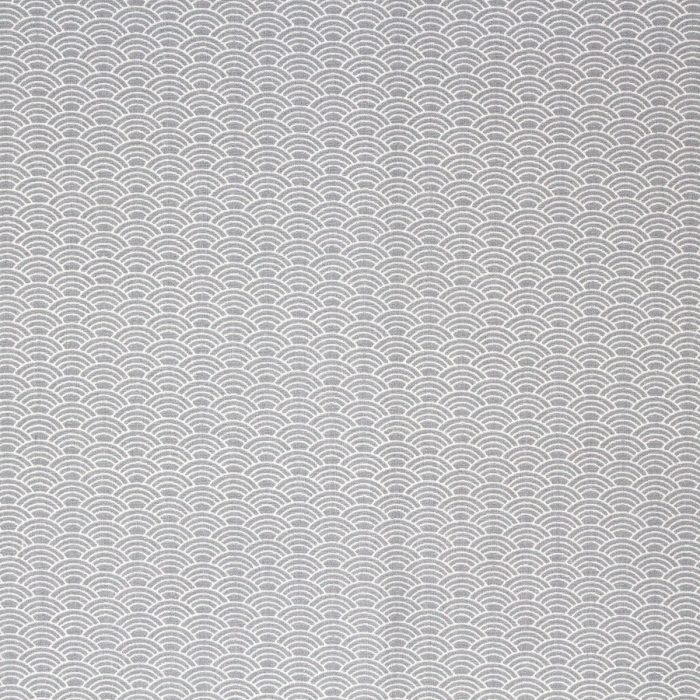 Light grey fabric with a wave patterns in lighter grey.