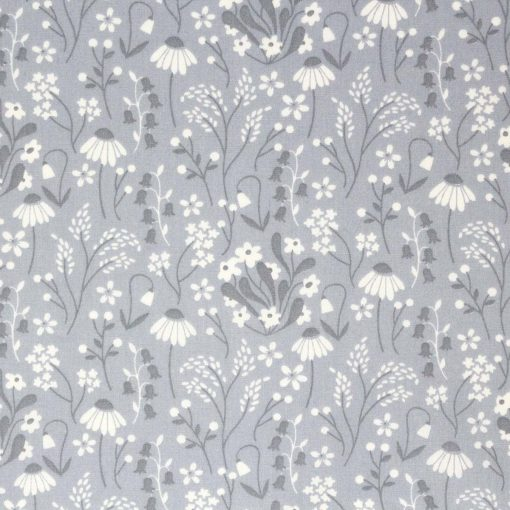 grey wild flower fabric