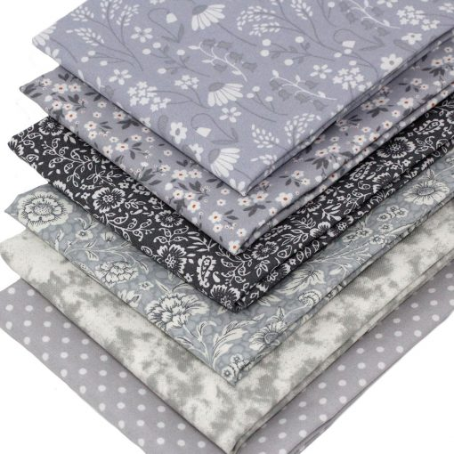 Grey fat quarter fabrics.