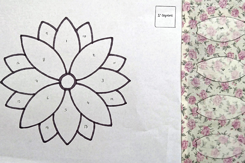Using an applique flower template.