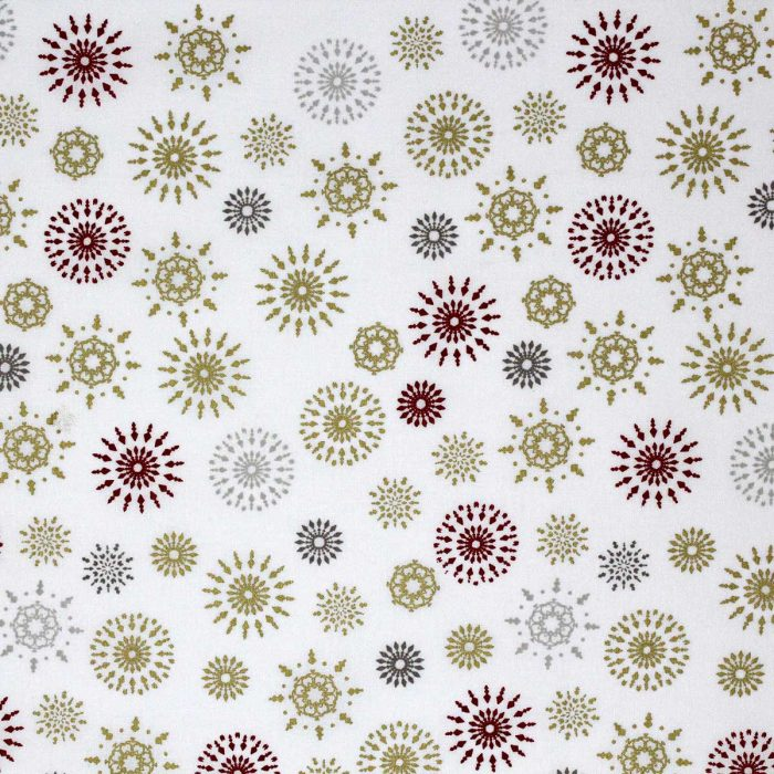 Red and gold snowflake fabric design.