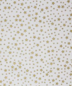 Gold star fabric on a white background.