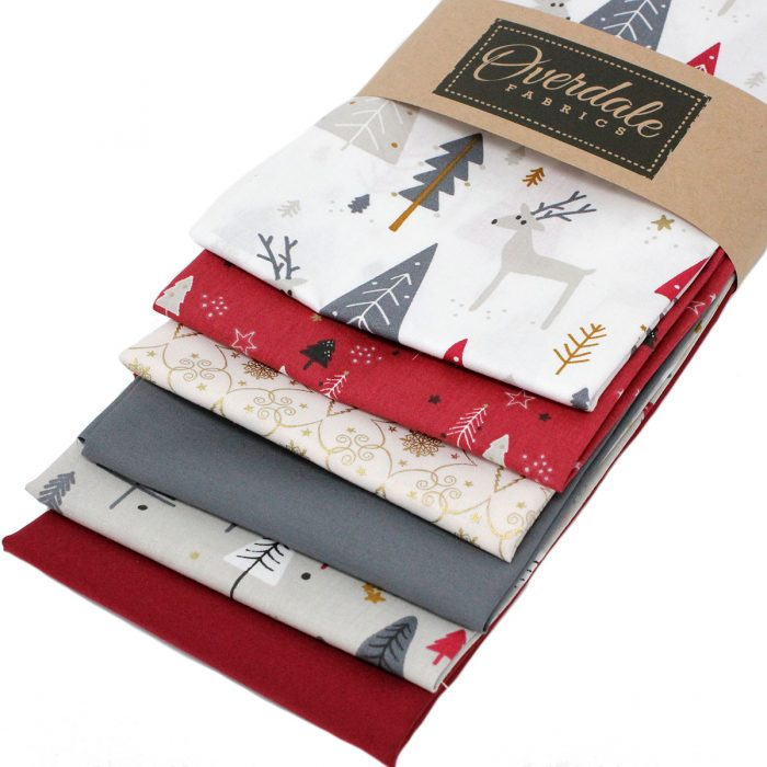 Christmas fat quarter pack in grey and red.