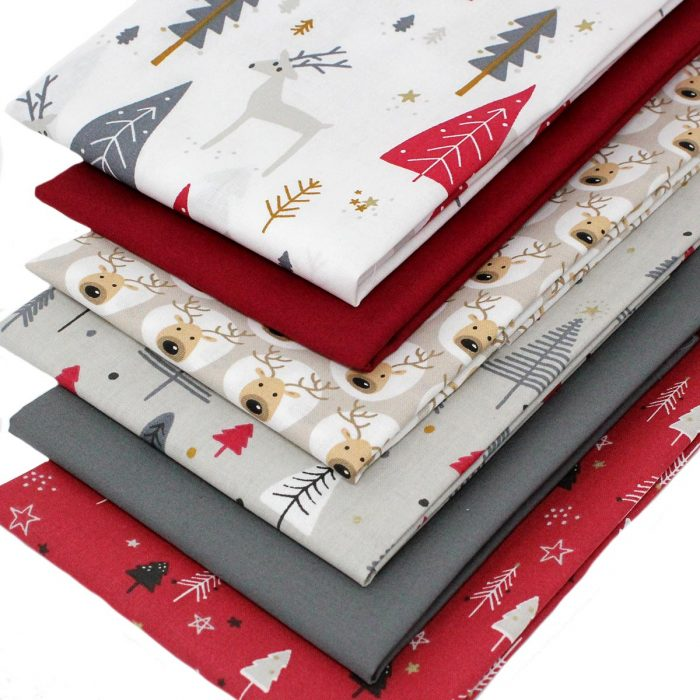 Christmas fat quarters featuring a reindeer.
