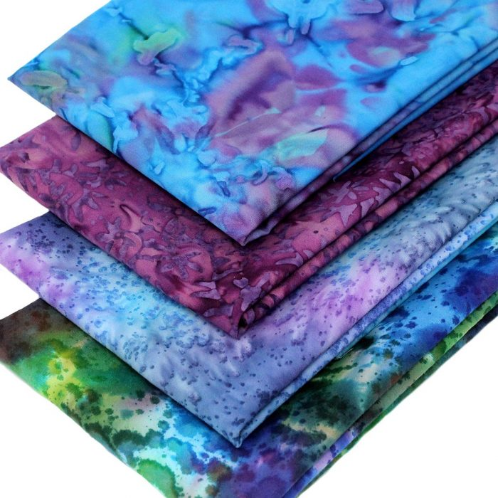 Blue and purple batik fabric fat quarters.