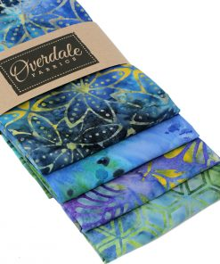 Batik fat quarter pack in blue, green and purple.