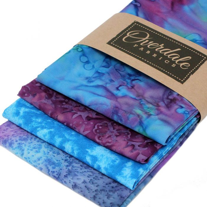 Overdale fabric batik bundle in blue and purple.