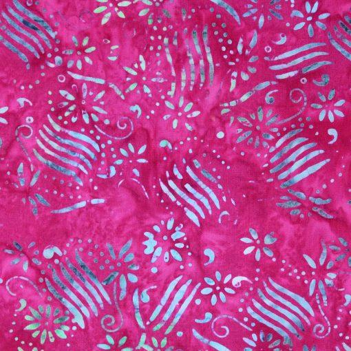 Cerise pink batik with a flower design.