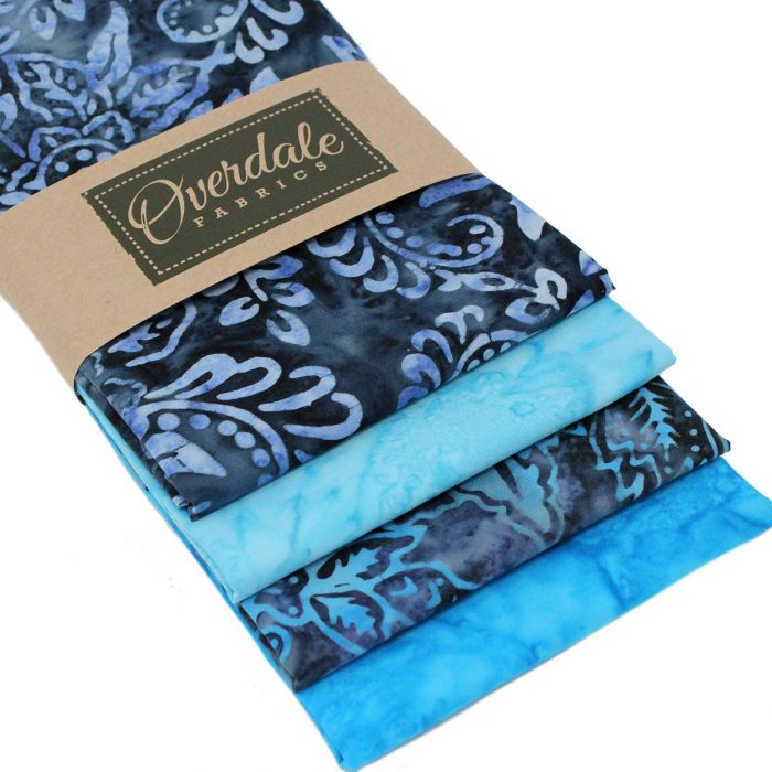 Four blue batik fat quarter pack.
