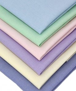 Solid plain fabric in pastel shades.