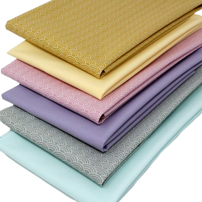 Six fat quarter pack in shades of mint green, lemon yellow and pink.