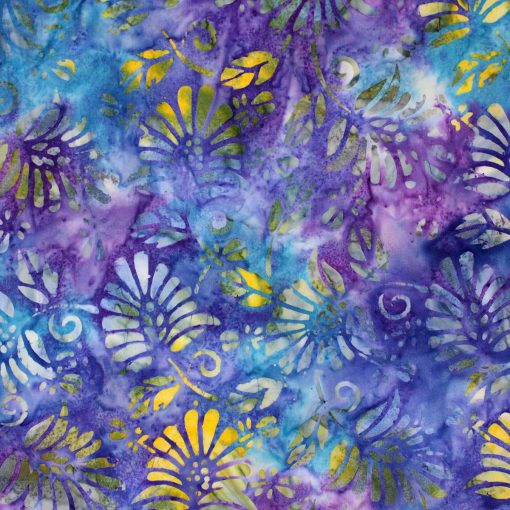 Floral batik in purples and blues.