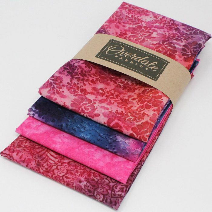 Batik fat quarter pack in red and purple.