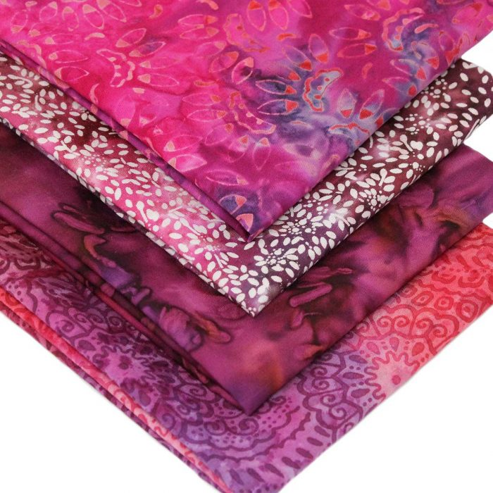 Batiks in pinks and purples