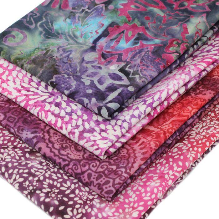 Purple and pink batik fat quarters.
