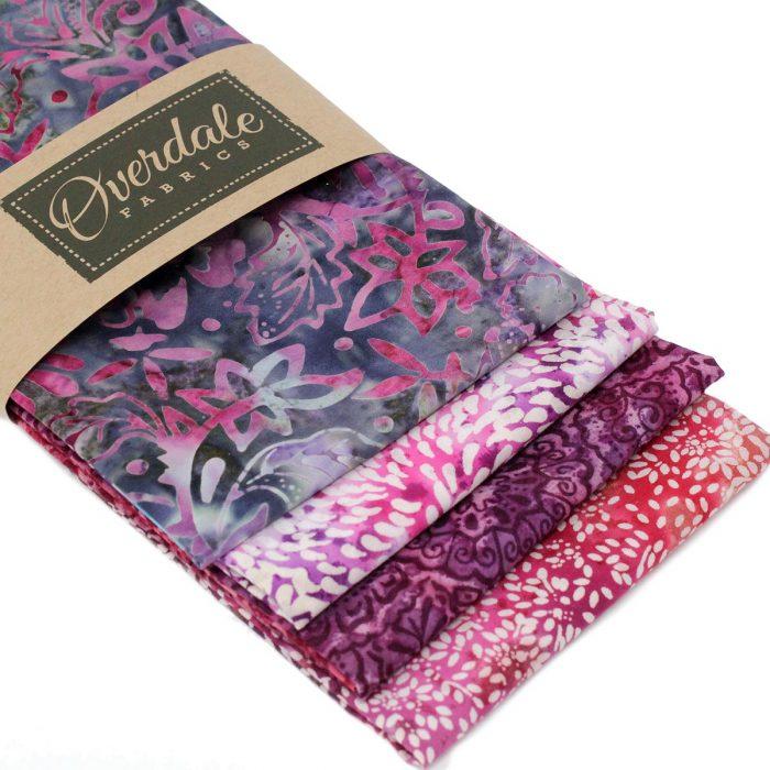 Pink and purple batik fat quarter pack.