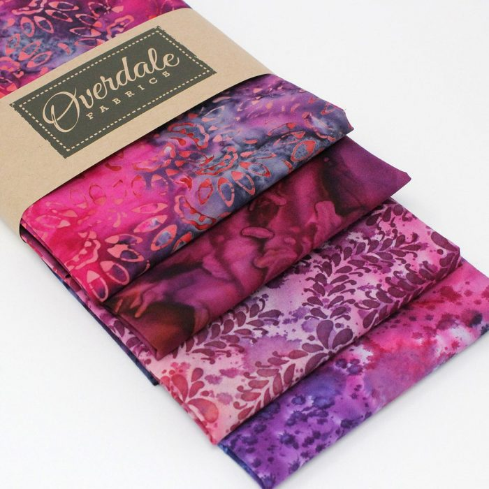 Purple and pink batik fat quarter collection