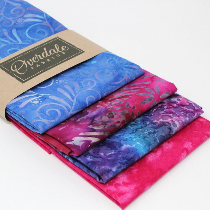 Four batik fabric fat quarter pack called tropical leaf