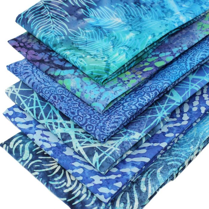 Blue batik fat quarter fabrics.