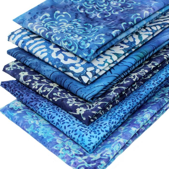 Batik fat quarter bundle in blue.