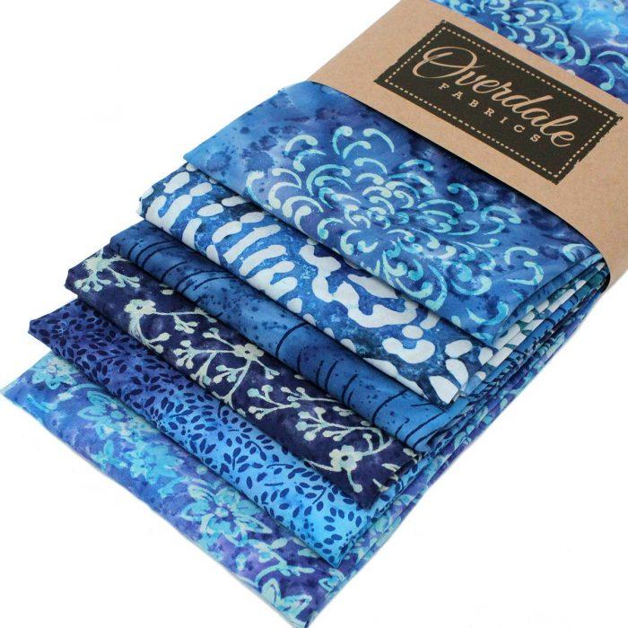 Six fat quarter pack of blue batiks.