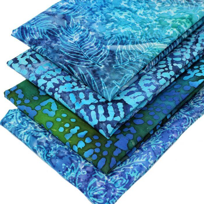 blue and green batik fabrics.