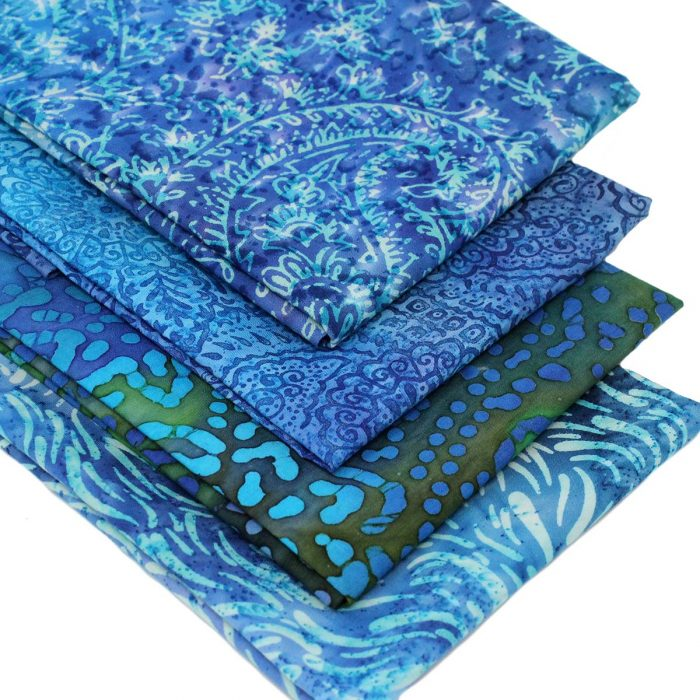 Blue batiks with a tropical look.