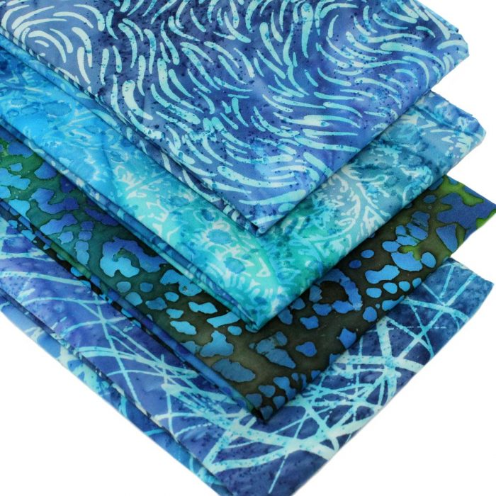 Blue and green batik fabrics.