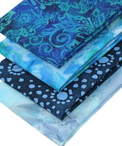 Blue and green batik fat quarters.