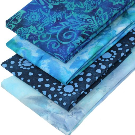 Blue and green batik fat quarters.